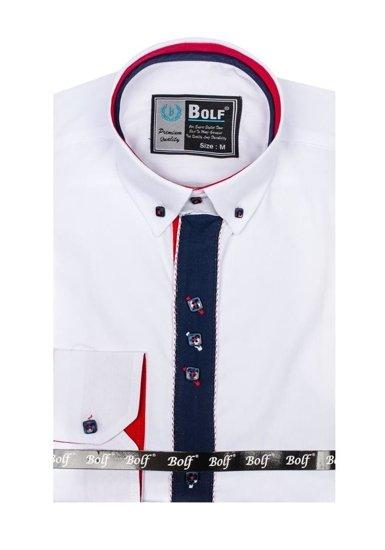 Bolf Herren Hemd Elegant Langarm Weiß  5827-1