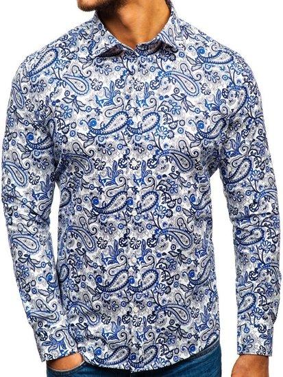 Bolf Herren Hemd Gemustert Langarm Dunkelblau-Blau  301G76