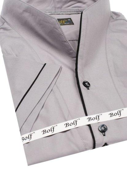 Bolf Herren Hemd Kurzarm Grau 5518