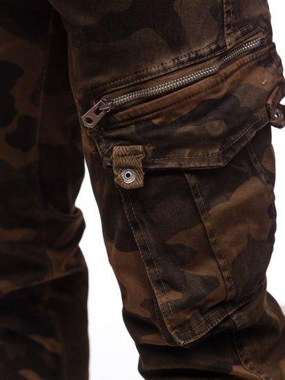 Bolf Herren Jogger Pants Cargohose mit Gürtel Camo Braun CT6013