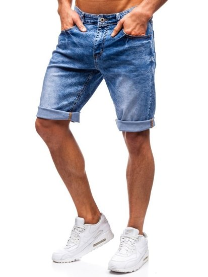 Bolf Herren Kurze Jeanshose Blau  7806