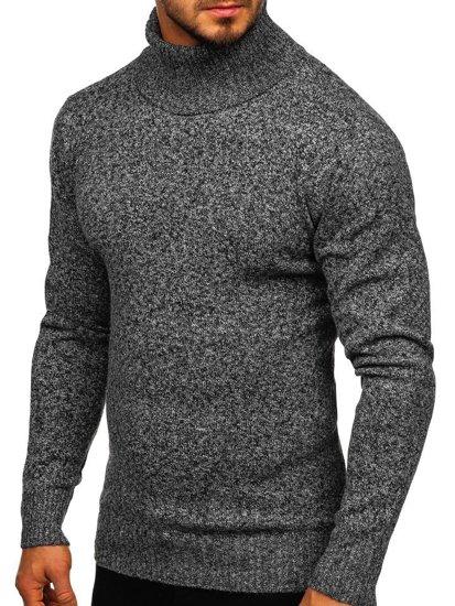 Bolf Herren Pullover Rollkragen Grau  H1933