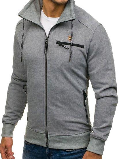 Bolf Herren Sweatshirt mit Verschluss Grau  2067
