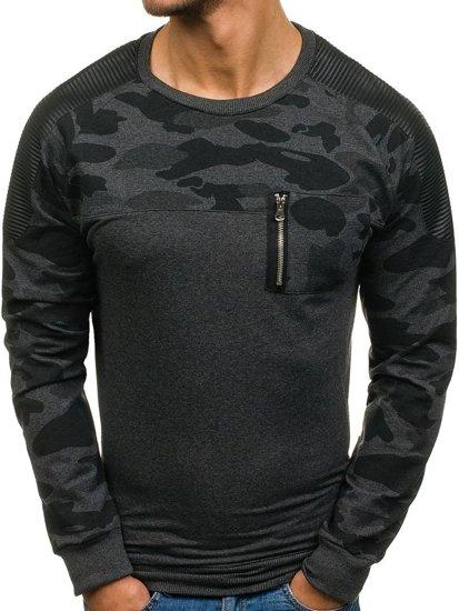 Bolf Herren Sweatshirt ohne Kapuze Anthrazit  0749