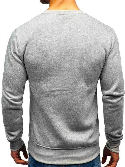 Bolf Herren Sweatshirt ohne Kapuze Grau  BO-01