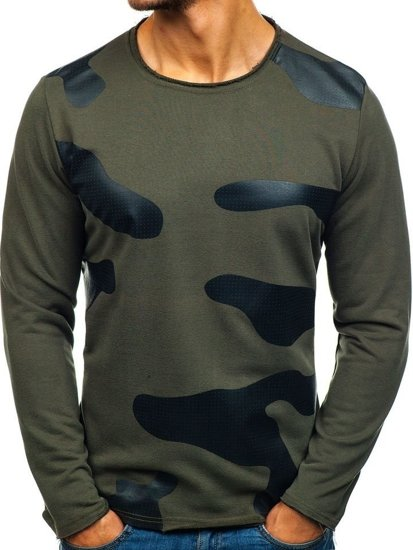 Bolf Herren Sweatshirt ohne Kapuze Grün 9081