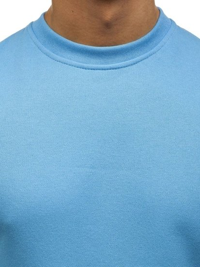 Bolf Herren Sweatshirt ohne Kapuze Hellblau 01
