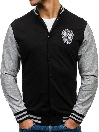 Bolf Herren Sweatshirt ohne Kapuze Schwarz-Grau 0844