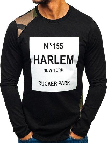 Bolf Herren Sweatshirt ohne Kapuze Schwarz-Grün 0756