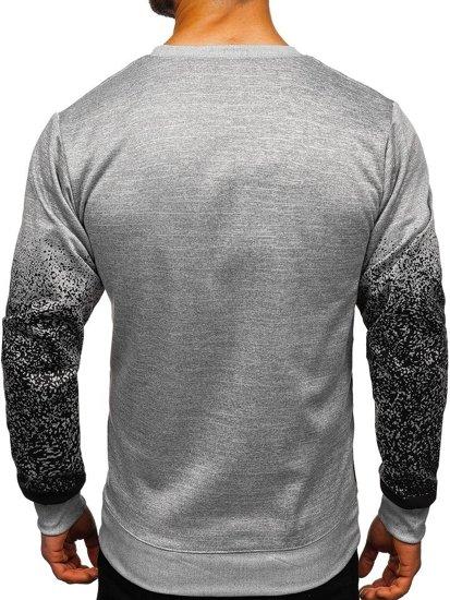 Bolf Herren Sweatshirt ohne Kapuze mit Motiv Grau  8910