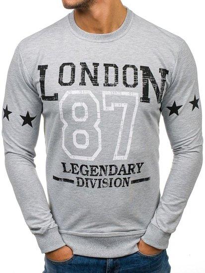 Bolf Herren Sweatshirt ohne Kapuze mit Motiv Grau Bolf 68