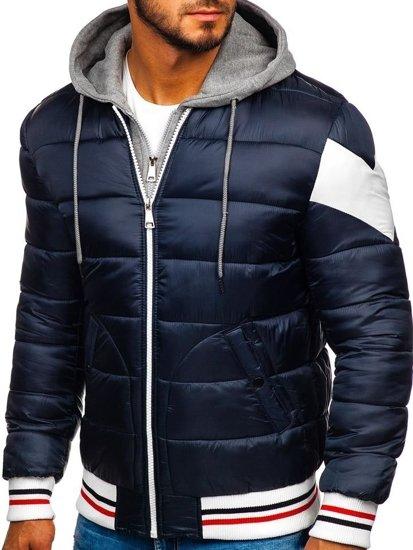 Bolf Herren Winterjacke Sport Jacke mit Steppmuster Dunkelblau  JK395
