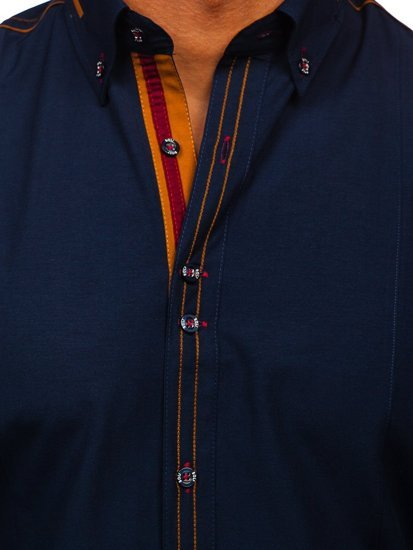 Bolf Herrenhemd Elegant Langarm Dunkelblau 4707