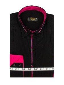 Bolf Herren Hemd Elegant Langarm Schwarz-Rosa  2964
