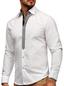 Bolf Herren Hemd Elegant Langarm Weiß  6873