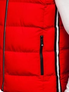 Bolf Herren Steppweste mit Kapuze Rot  5898