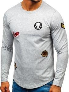 Bolf Herren Sweatshirt mit Motiv Grau  0734