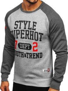 Bolf Herren Sweatshirt ohne Kapuze Anthrazit-Grau  J09