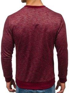 Bolf Herren Sweatshirt ohne Kapuze Weinrot  1693