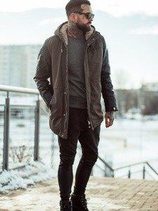 Styling Nr.116-Winterjacke,Sweatshirt ohne Kapuze,Joggerhose,Schuhe